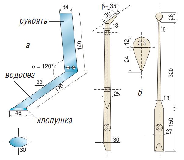 Чертежи конструкций квоков: а - металлического; б - деревянного.