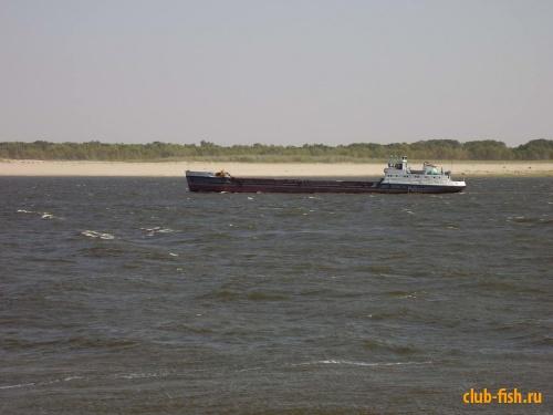 Волга, волна и баржа